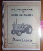 Allis-chalmers D21 Tractor And Three Point Hitch Iii Owner Operator Manual Tm-346a