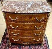 Antique Style French 4 Drawer Chest Of Drawers With Marble Top Vintage Burled