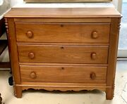Antique American Victorian Walnut Chest Of 3 Drawers Marble Back Cabinet