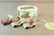 Toy Old Time Auto Tin Metal Box Container With 3 Antique Car Replica Toys