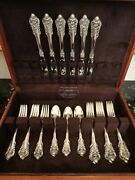 Wallace Grande Baroque 24 Pcs For 6 Sterling Silver Flatware Service Set W Chest