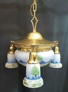 Antique Restored Brass Four Light Chandelier With Hand Painted Shades
