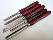 Vintage 5pc 1940's Craftsman Wood Lathe Tools Knives Bb Miller Falls Made In Usa