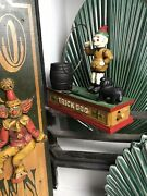 Vintage 1960s Cast Iron Reproduction Of Hubleys Trick Dog Coin Bank