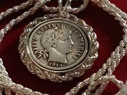 1914 Barber Liberty Dime Pendant On A 24 925 Sterling Silver Italian Rope Chain