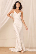 Always Mi Amor White Satin V-neck Wedding Dress Bridal Gown Maxi Dress