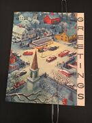 Vintage Esso Station 1955 Christmas Card Small Village Setting W/ Multiple Cars