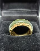 Vintage Nephrite Jade 14k Yellow Gold Carved Band Ring Size 6.5 Msrp 1,350