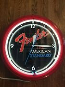 1990and039s Fender The American Standard Neon Lighted Clock