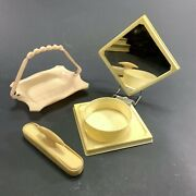 Lot X3 Vintage Xylonite Celluloid Vanity Travel Mirror Compact Nail Buffer Tray
