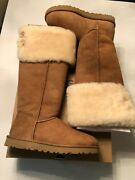 Ugg Chestnut Over The Knee Bailey Button Sheepskin Boots Us 9/ Eur 40 New