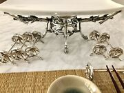 Christofle Japonisme Antique Silverplated Set Knives Rests And Plate Holder Bamboo