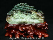 9.8 Chinese Natural Green Dushan Jade Carving Mountain Tree House Boat Statue