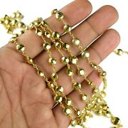 Faceted 24k Gold Plated Pyrite Gemstone Finding Dangling Rosary Beaded Chain
