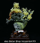 16.8 Boutique Chinese Natural Xiu Jade Carving Flower Birds Kettle Statue