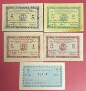 Spain Civil War Completed Set Of 5 X 25 50 Cts 1 2 Peseta 1937 Xf-unc. 2583
