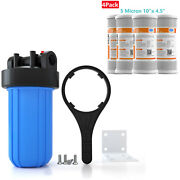 4.5x10'' Big Blue Whole House System , 4 Carbon Block Water Filter Cartridge