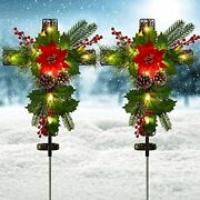 Doingart 2 Pack Outdoor Solar Lights Christmas Decorations Cross Stake With Red