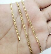 10k Solid Yellow Gold Figaro Chain Link Pendant Necklace 16 18 20 22 24 30