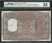 India - Old 1000 Rupee Note 1954-57 P46a - Bombay - Pmg Ch.vf 35