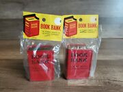 Vintage Lot Of 2 Small Tin Book Banks Red Japan New