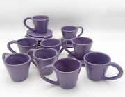 Lot Of 9 Vintage Julie Sanders Cyclamen Lavender Pottery Cup And Saucer