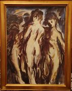 Original Painting On Canvas Of The Three Nude Women Signed 365 X 29 Inches