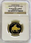 1985 Gold Singapore 200 Minted Proof Year Of Ox 1/2 Oz Coin Ngc Pf 68 Uc