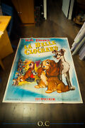Lady And The Tramp Walt Disney 4x6 Ft Vintage French Grande Movie Poster 1955