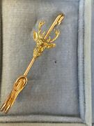 Vintage Hermes Paris 18k Yellow Gold Stag Stock Pin Made To Order Rare