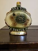 Are You A Turtle Vintage Jim Beam Decanter Whiskey Empty 1975