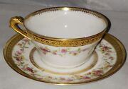 Limoges Rose And Gold Rim Hand Painted Tea Cup And Saucer