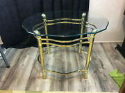 Vintage Mcm Brass Oval Side Table Glass Top Shell Feet Hands 20 3/4 X 23 1/12