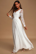 Wake Me On My Wedding Day White Long Sleeve Lace Wedding Dress Bridal Gown Maxi