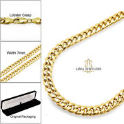 Mens Womens 10k Yellow Gold 7mm Miami Cuban Chain Necklace 20-28
