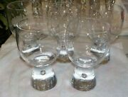 5 Kosta Boda Rondo Water Goblets Glasses Controlled Bubble Base Crystal Mcm