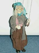 Marionette Old Lady With Glasses 44 Cm Unique Czech 6 Strings Puppet Art Doll