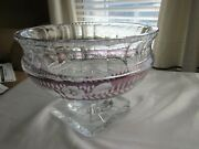 Bohemian Czech Cut To Clear Purple Crystal Footed Centerpiece Bowl 9.25 X 6.5