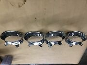 1959 Cadillac Front Bumper Parking Light Bezels Stainless Trim Complete Molding