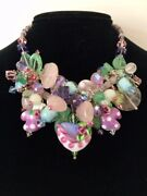Estate Hand Made Crystal Cluster Necklace Featuring Lampwork Heart And Mittens
