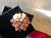 Valentines Peach Skin Coral, Diamond And Lapis 18k Gold Antique Ring