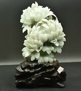 14.8 China Liaoning Xiu Jade Carved Pony Flower Feng Shui Lucky Statue Ornament
