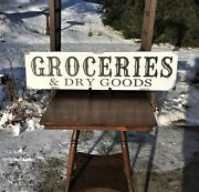 Groceries And Dry Goods - Rustic Farmhouse Wood Sign - Weathered 36 X 9