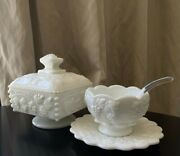 Westmoreland Milk Glass Beaded Grape Candy Dish And Sugar Bowl With Saucer