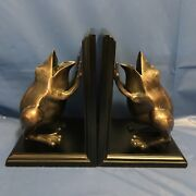 Dolbi Cashier Wood And Brass Frog Bookends - Vintage 1990
