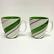 Starbucks Coffee Company Lot 2 12 Oz White Holiday 2007 Cups Candy Cane