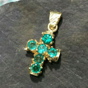 Round Natural Colombian Emerald Cross Pendant 18k Yellow Gold