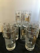 8 Vintage Libbey Ancient Alchemy Symbols Drinking Glasses. Apothecary
