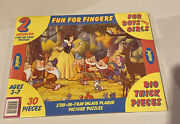 Vintage Jaymar 2 Pack Stay-in-tray Disney Snow White Pinocchio Floor Puzzles New