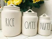Rae Dunn Rice Oats Baby Size Nuts Canister Jar Set With Lid Ll Farmhouse Vhtf